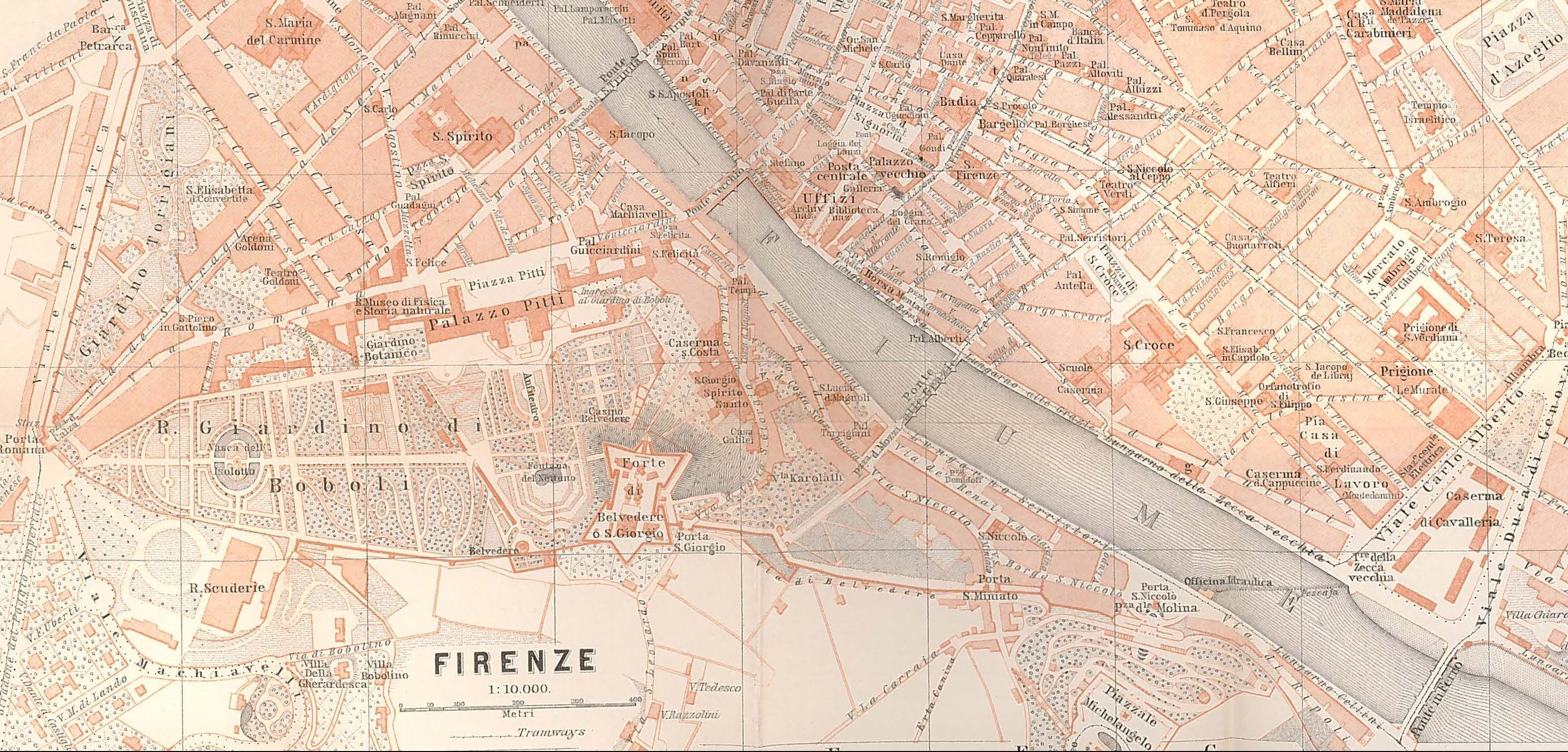 Baedeker map of Florence