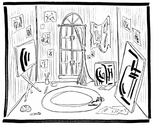 Drawing of studio by Maura Tangum